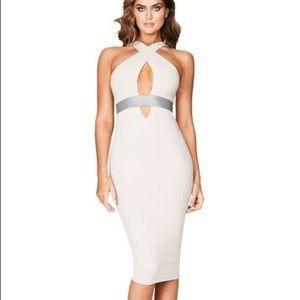 Nookie Monaco Midi Nude Taupe Dress XS